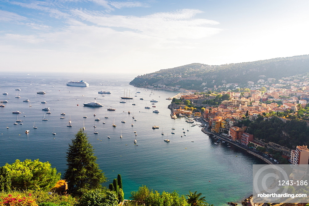 Aerial view of Villefranche, Alpes Maritimes, Cote d'Azur, French Riviera, Provence, France, Europe