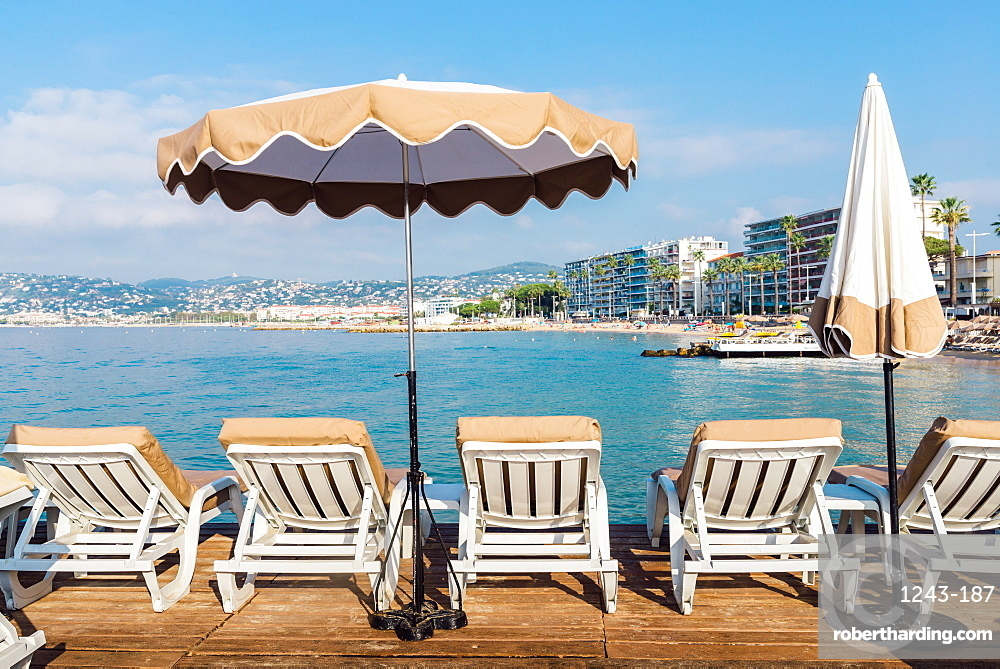 Rows of empty beach lounges in Juan les Pins, Cote d'Azur, Provence, France, Mediterranean, Europe