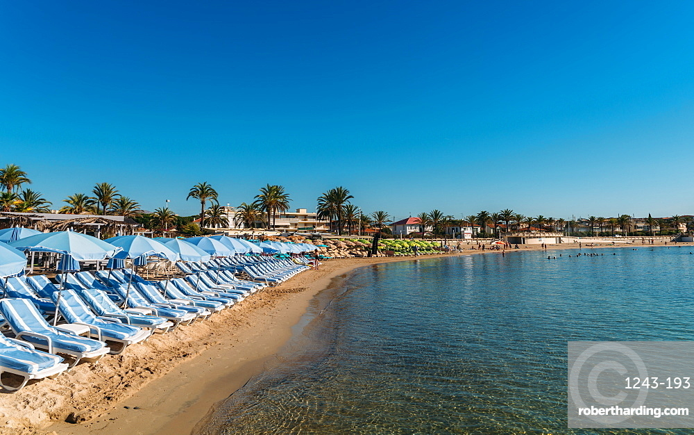Rows of empty beach loungers in Juan les Pins, Cote d'Azur, Provence, France, Mediterranean, Europe