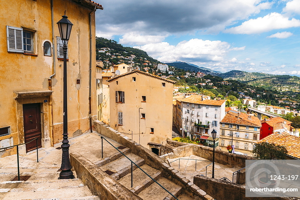 Winding stairs in Grasse, Alpes Maritimes, Cote d'Azur, Provence, French Riviera, France, Europe