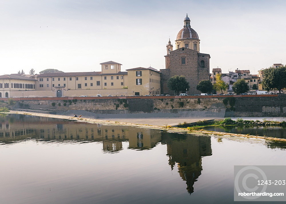 San Frediano in Cestello church with reflection on River Arno in Florence, Tuscany, Italy