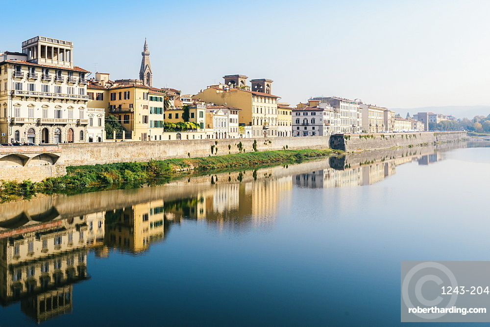 Reflection of buildings on River Arno, Florence, Tuscany, Italy, Europe