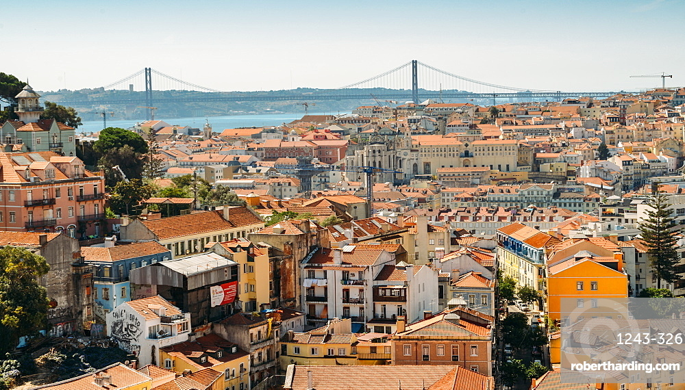 Panoramic viewpoint Sophia de Mello Breyner Andresen (Miradouro da Graca), Lisbon, Portugal, Europe