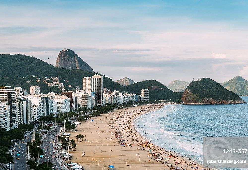 Sugarloaf Mountain with Copacabana Beach in Rio de Janeiro, Brazil - UNESCO World Heritage Site Ref: 1100rev