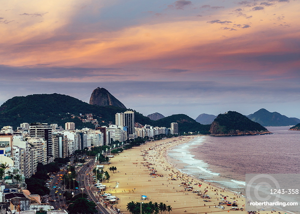 Sugarloaf Mountain with Copacabana Beach in Rio de Janeiro, UNESCO World Heritage Site, Brazil, South America