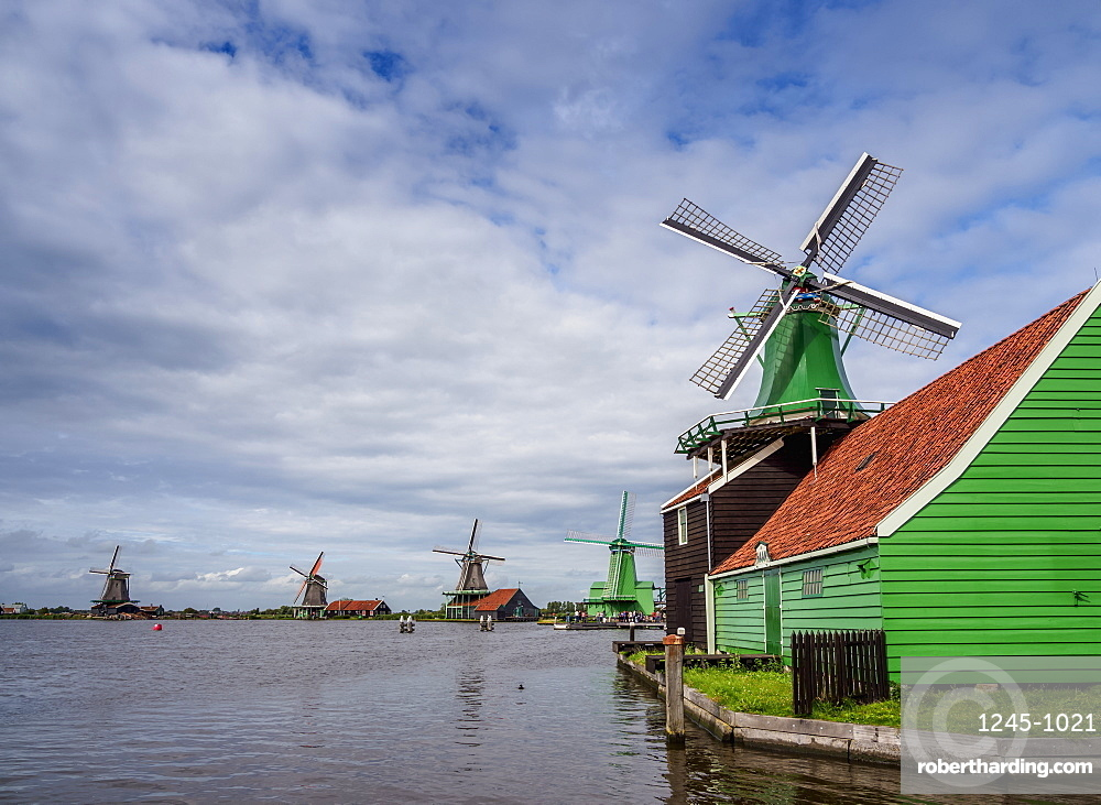Windmills in Zaanse Schans, Zaandam, North Holland, The Netherlands, Europe