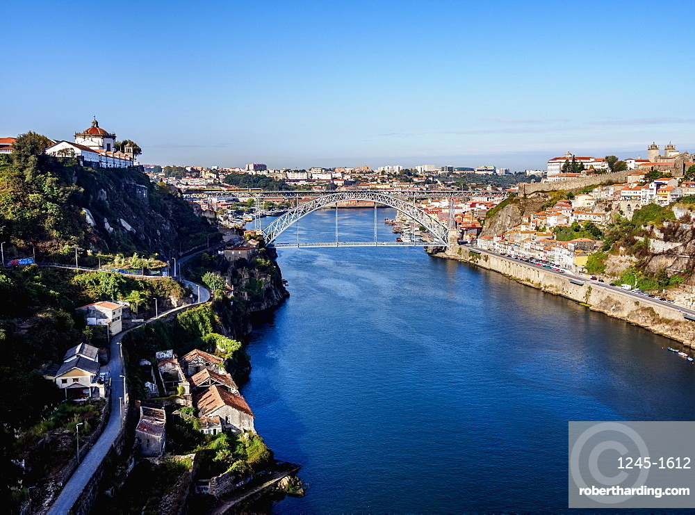 View over Douro River towards Dom Luis I Bridge, Porto, Portugal, Europe
