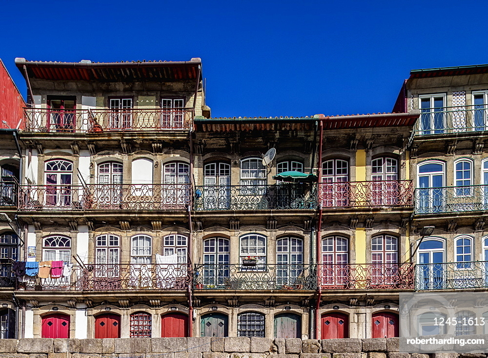 Colourful houses at Cais da Estiva, Porto, Portugal, Europe