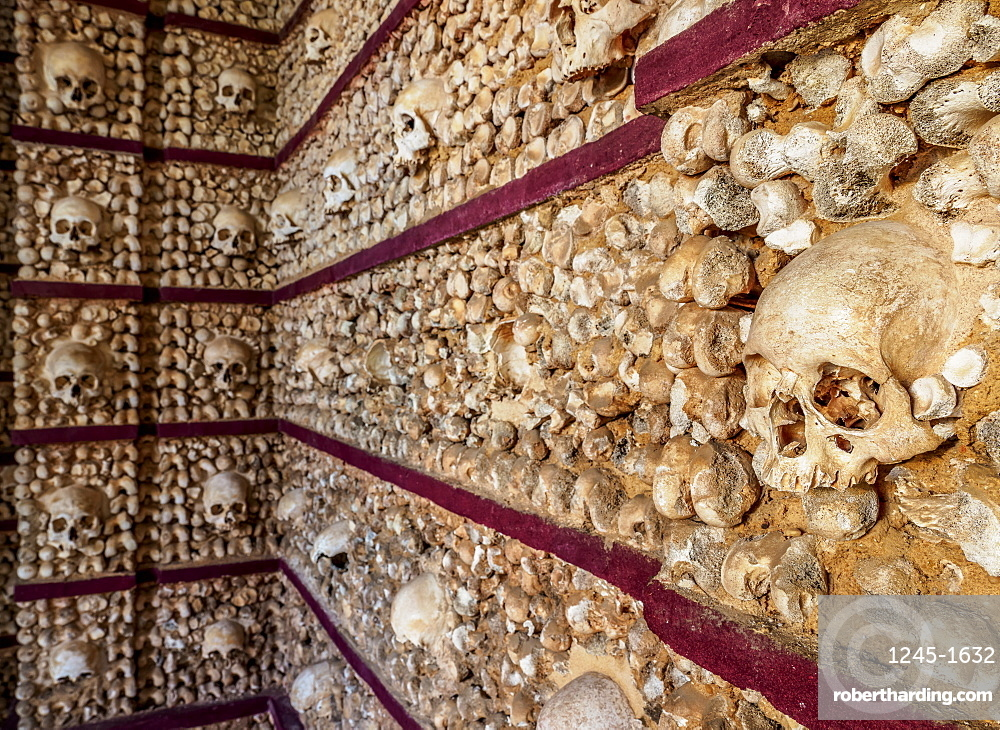 Chapel of Bones, interior, Carmo Church, Faro, Algarve, Portugal, Europe