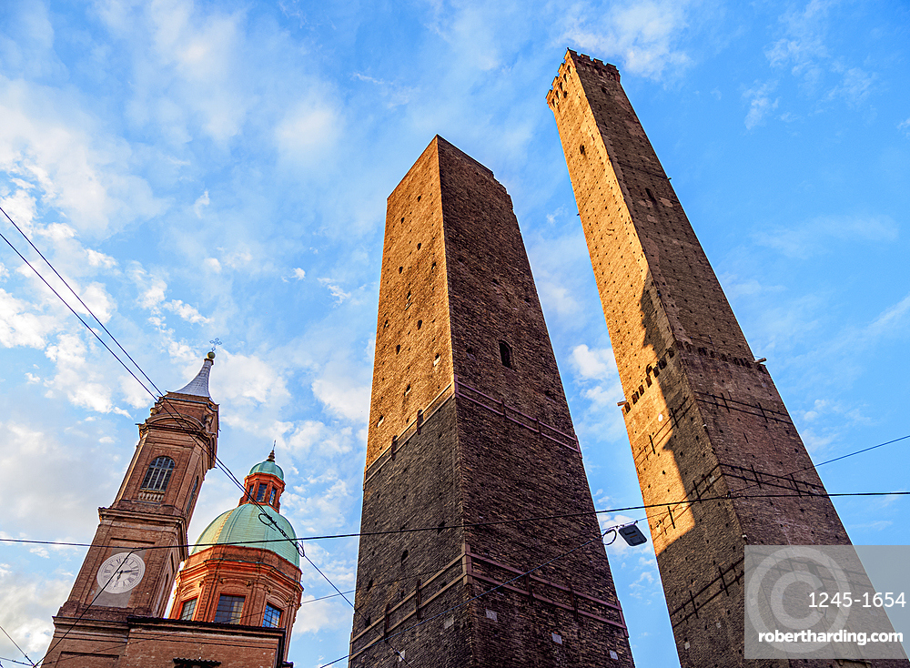 The Two Towers at sunrise, Bologna, Emilia-Romagna, Italy