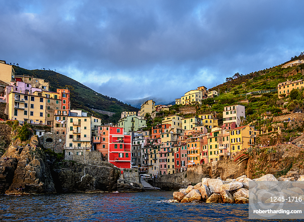 Riomaggiore Village at sunset, Cinque Terre, UNESCO World Heritage Site, Liguria, Italy, Europe