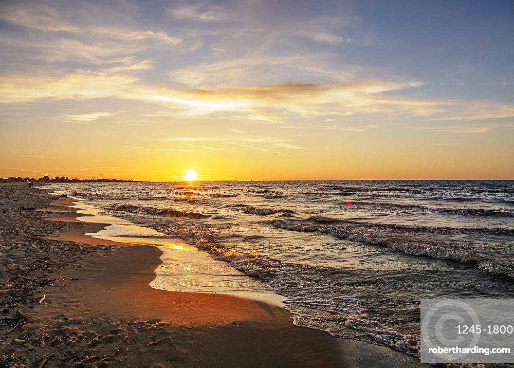 Baltic Sea at sunset, Mikoszewo, Pomeranian Voivodeship, Poland