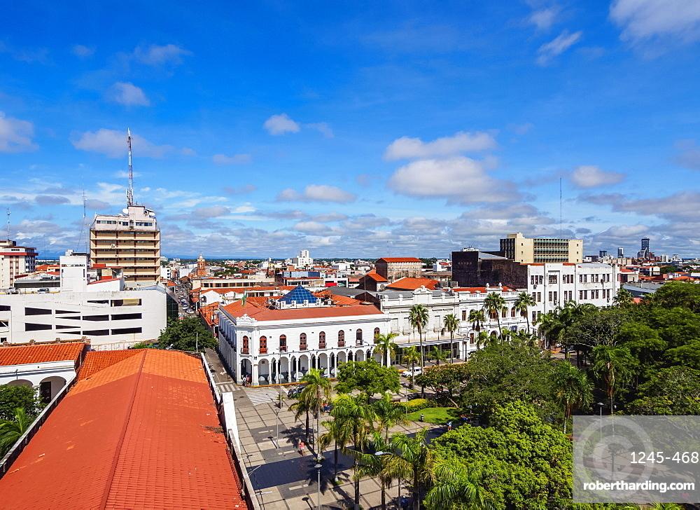 Elevated view of 24 de Septiembre Square, Santa Cruz de la Sierra, Bolivia, South America