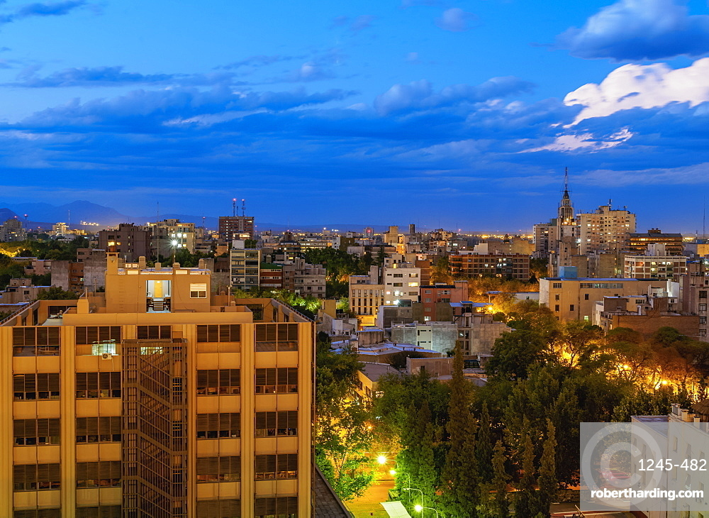 Cityscape of Mendoza, twilight, Argentina, South America