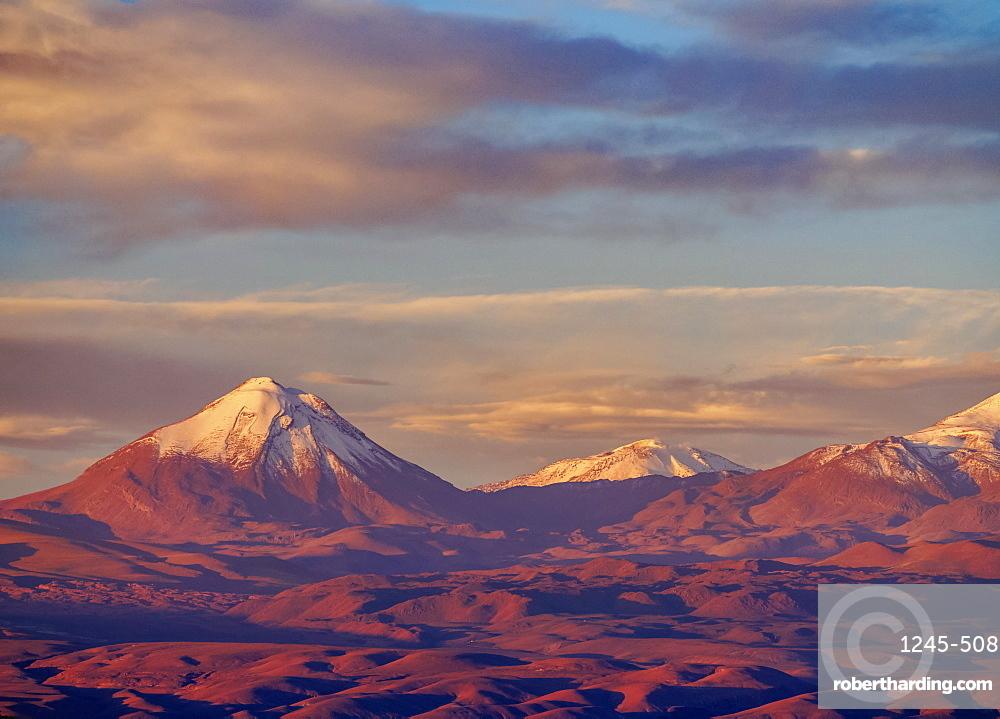 View over Atacama Desert towards Cerro Colorado, San Pedro de Atacama, Antofagasta Region, Chile, South America