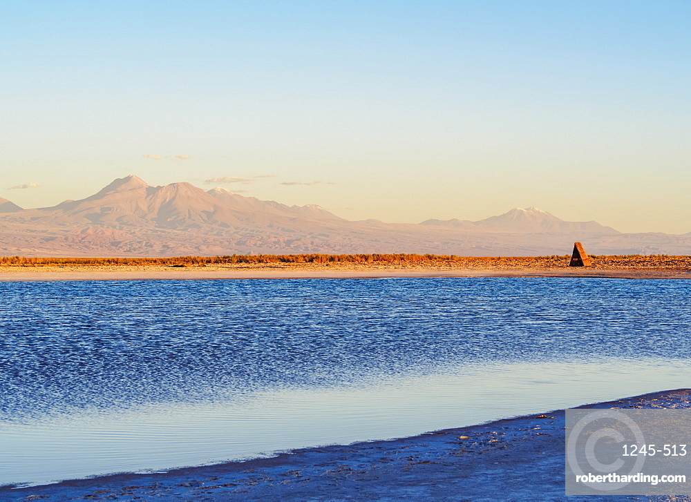 Laguna Piedra at sunset, Salar de Atacama, Antofagasta Region, Chile, South America