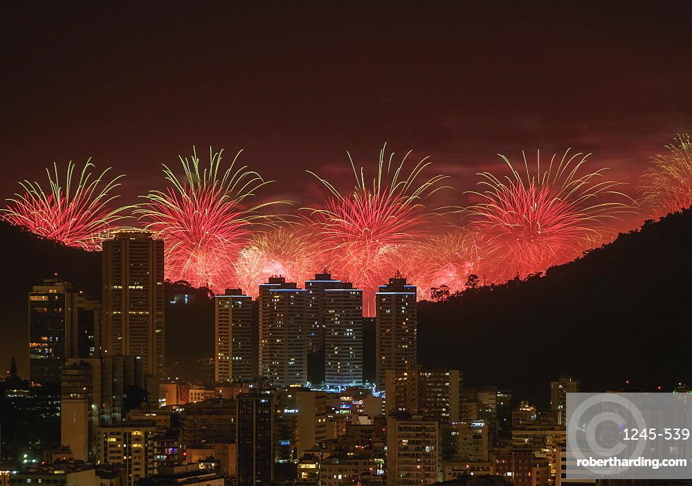 New Years Fireworks over Rio de Janeiro, Brazil