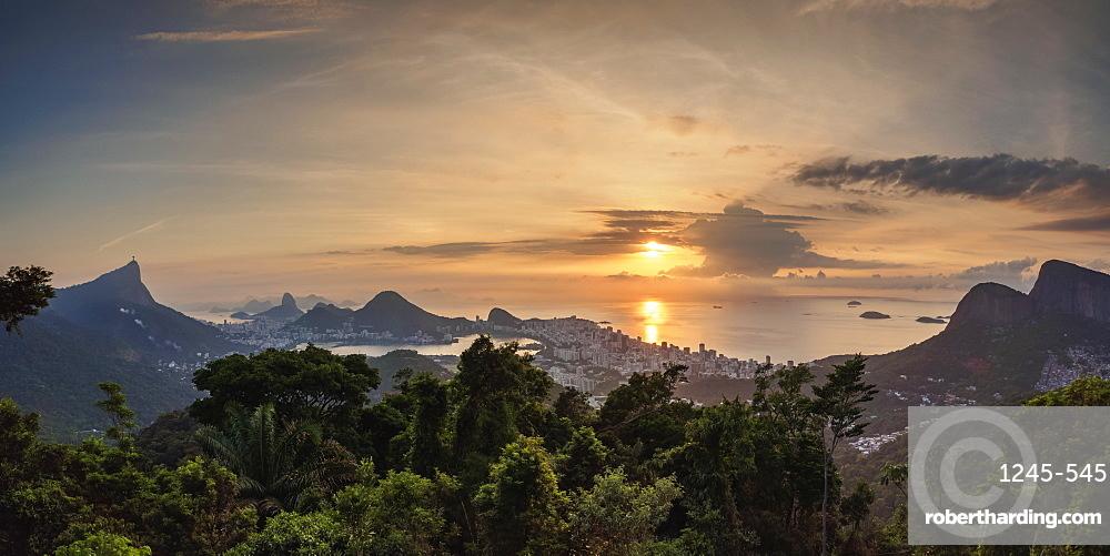Cityscape from Vista Chinesa at sunrise, Rio de Janeiro, Brazil, South America