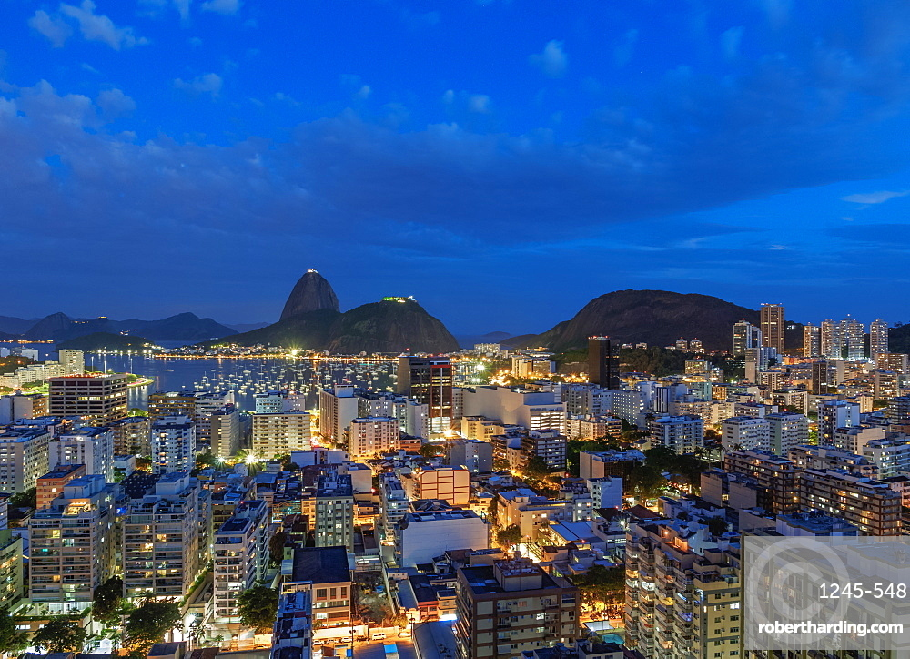 View over Botafogo towards the Sugarloaf Mountain at twilight, Rio de Janeiro, Brazil