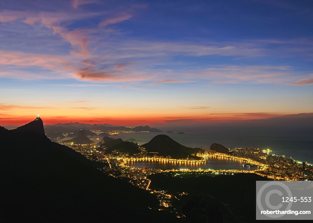 View towards Lagoa Neighbourhood from Tijuca Forest National Park at dawn, Rio de Janeiro, Brazil, South America