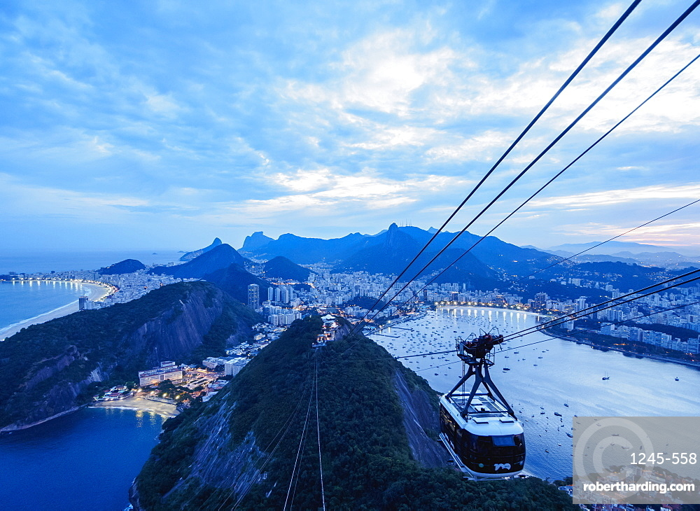 Cable Car to Sugarloaf Mountain at twilight, Rio de Janeiro, Brazil, South America