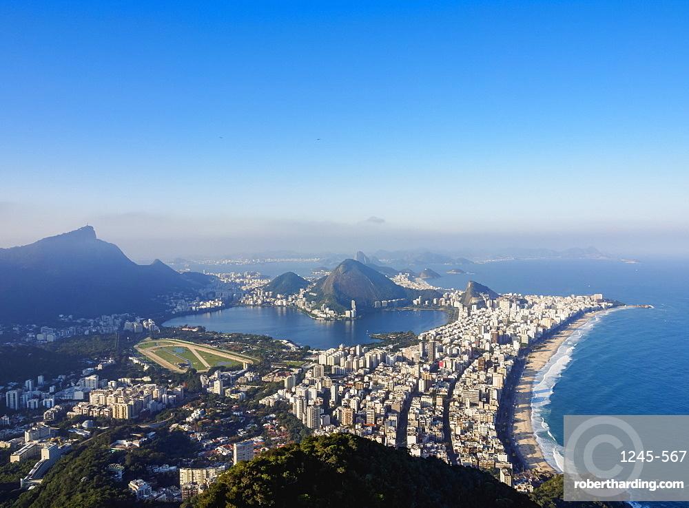 Cityscape seen from the Dois Irmaos Mountain, Rio de Janeiro, Brazil, South America