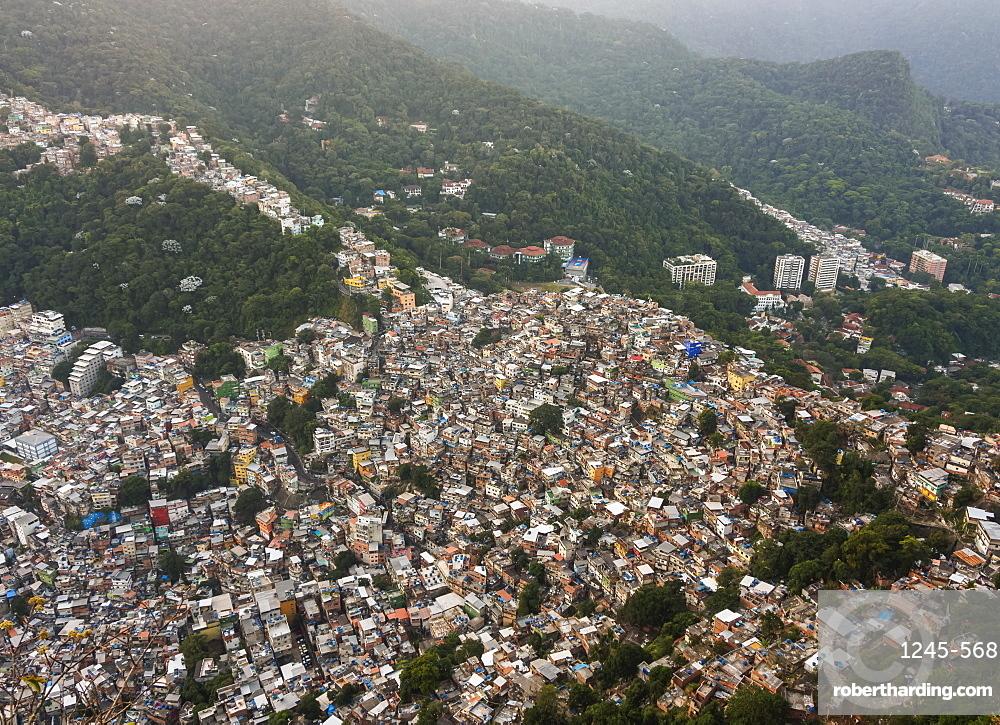 Rocinha Favela, elevated view, Rio de Janeiro, Brazil, South America