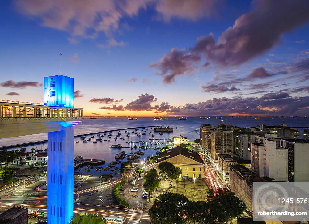 Lacerda Elevator at dusk, Salvador, State of Bahia, Brazil, South America
