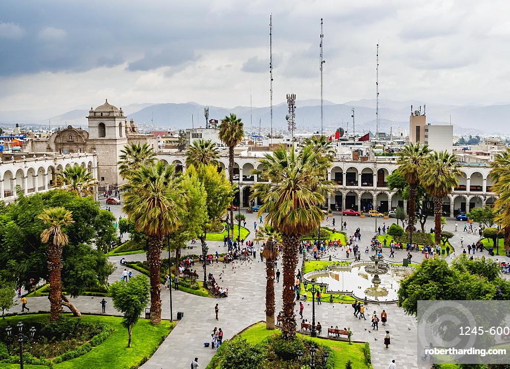 Plaza de Armas, elevated view, Arequipa, Peru, South America