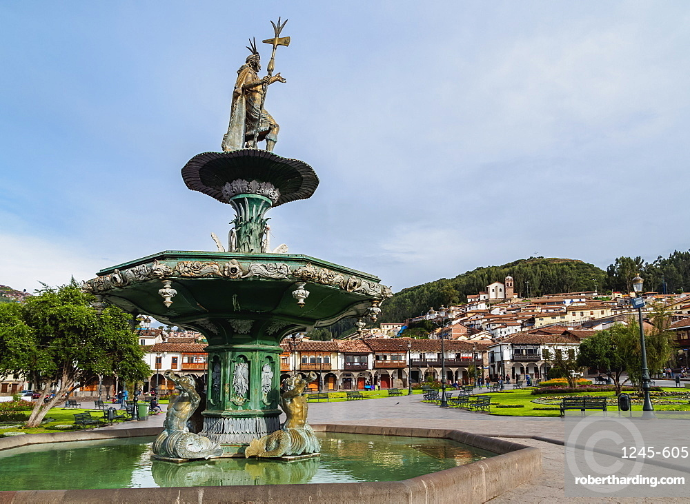 Fountain on the Main Square, Old Town, Cusco, Peru, South America