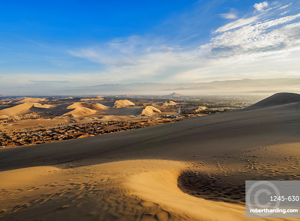 Sand dunes of Ica Desert near Huacachina, sunrise, Ica Region, Peru, South America