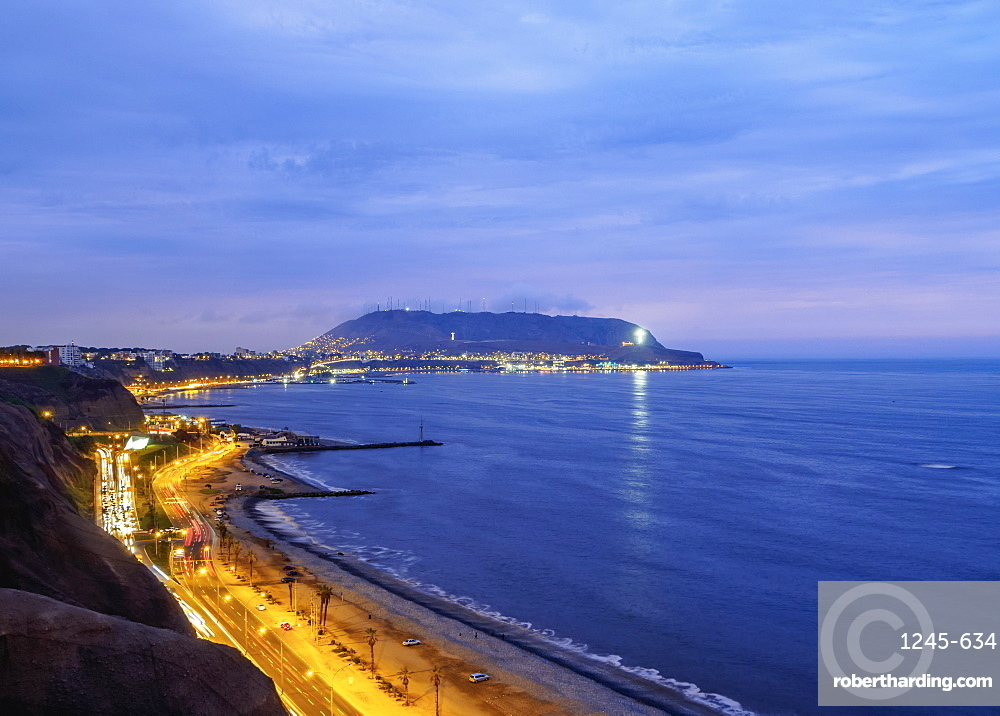 Coast of Miraflores District, Lima, Peru, South America