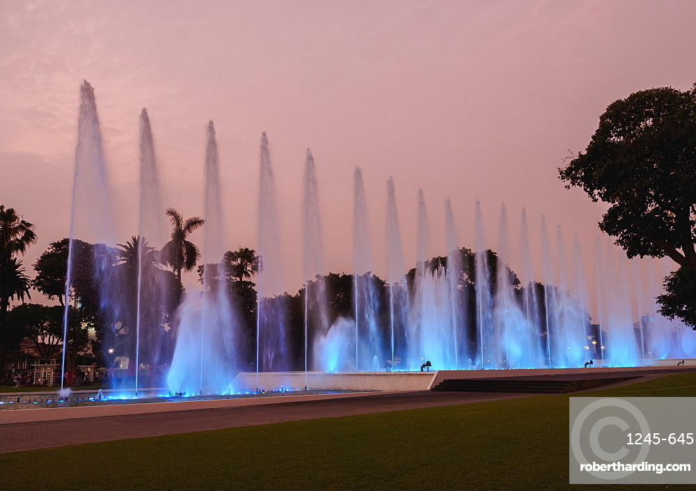 Magic Water Circuit in La Reserva Park, sunset, Lima, Peru