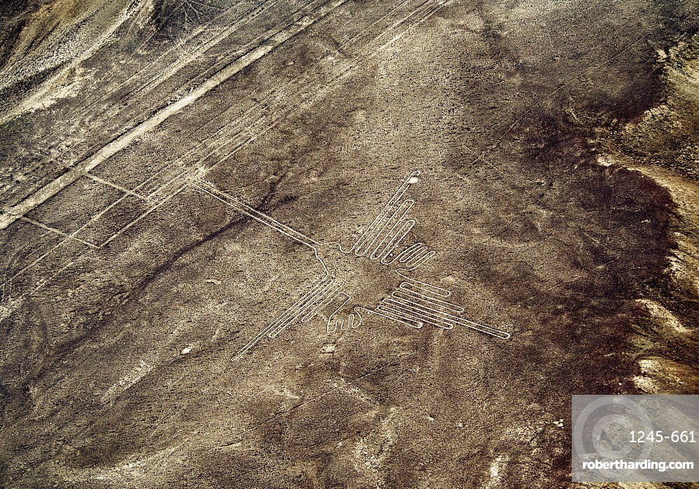 The Humming Bird Geoglyph, aerial view, Nazca, UNESCO World Heritage Site, Ica Region, Peru, South America
