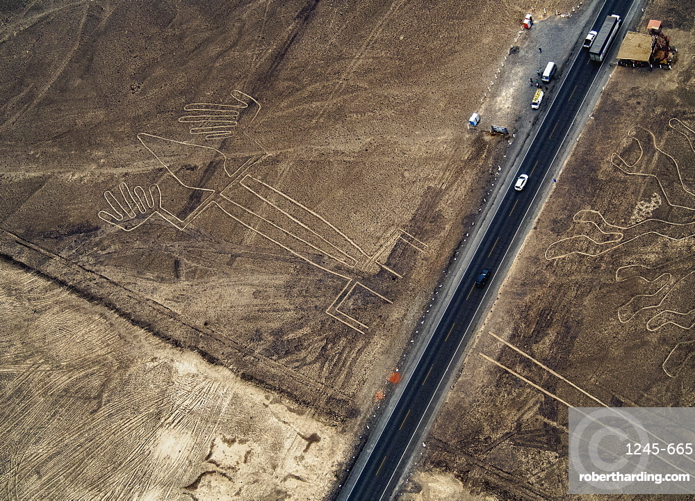 The Lizard Geoglyph, aerial view, Nazca, UNESCO World Heritage Site, Ica Region, Peru, South America