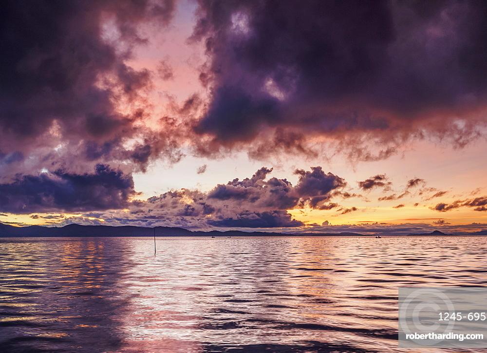 Lake Titicaca at sunrise, Uros Floating Islands, Puno Region, Peru, South America