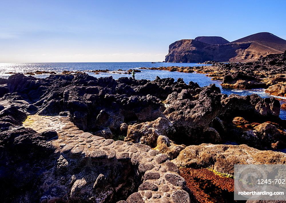 Coast of Cais towards the Ponta dos Capelinhos, Faial Island, Azores, Portugal, Atlantic, Europe