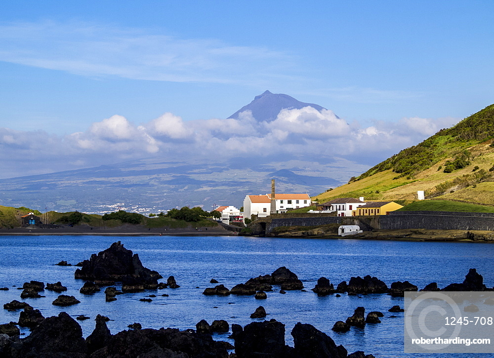 View towards Porto Pim Whaling Station and Pico Mounain, Faial Island, Azores, Portugal, Atlantic, Europe