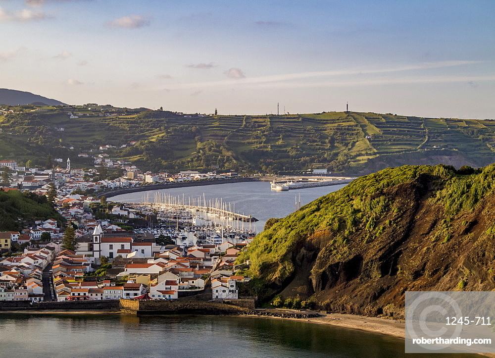 Horta seen from Monte da Guia, elevated view, Faial Island, Azores, Portugal, Atlantic, Europe