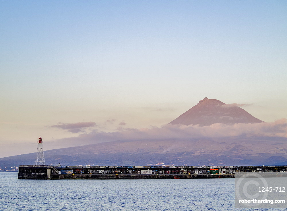 View towards the Pico Mountain, Faial Island, Azores, Portugal, Atlantic, Europe