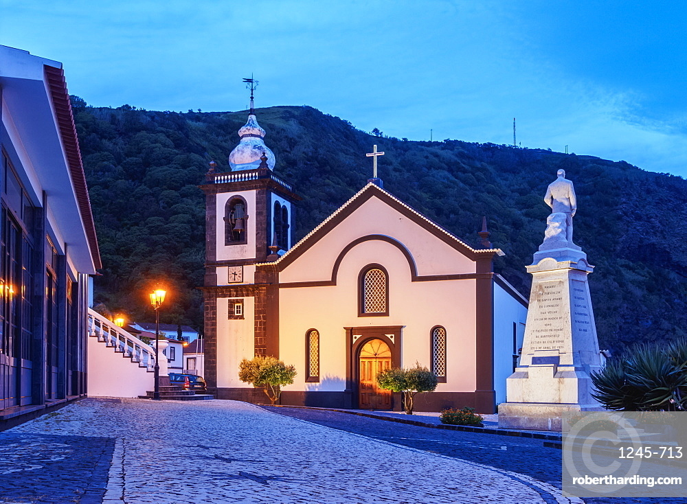 Igreja Matriz de Sao Jorge, Mother Church, Velas, twilight, Sao Jorge Island, Azores, Portugal, Atlantic, Europe