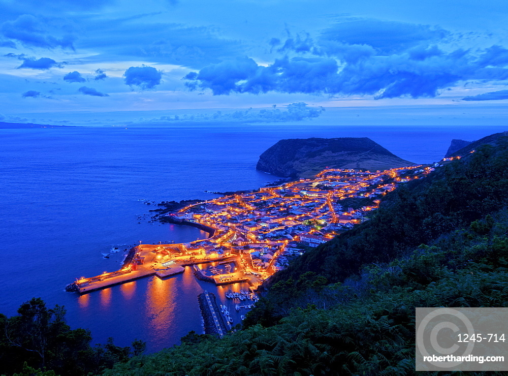 Velas at twilight, elevated view, Sao Jorge Island, Azores, Portugal, Atlantic, Europe