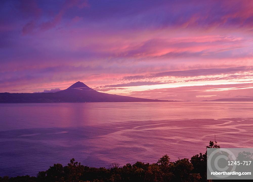 View towards the Pico Island at sunset, Sao Jorge Island, Azores, Portugal, Atlantic, Europe