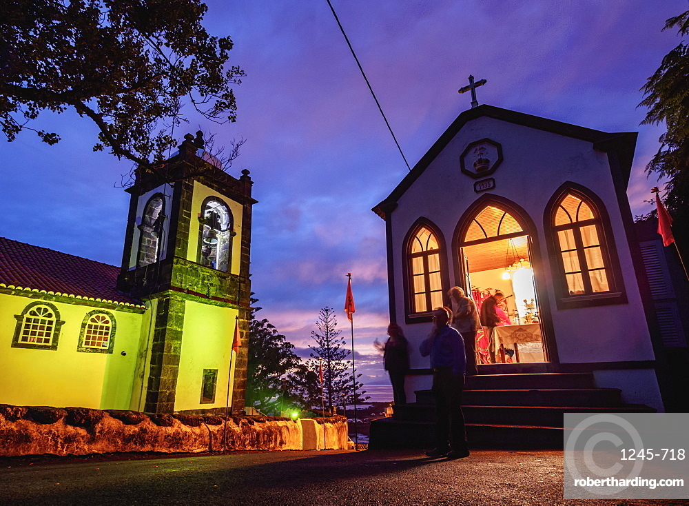 Church and Imperio de Espirito Santo in Manadas, twilight, Sao Jorge Island, Azores, Portugal, Atlantic, Europe