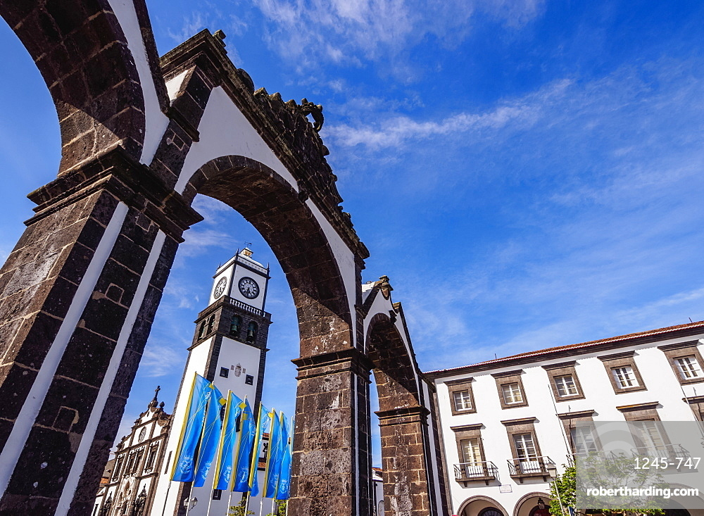 City Gates and Main Church, Ponta Delgada, Sao Miguel Island, Azores, Portugal, Atlantic, Europe