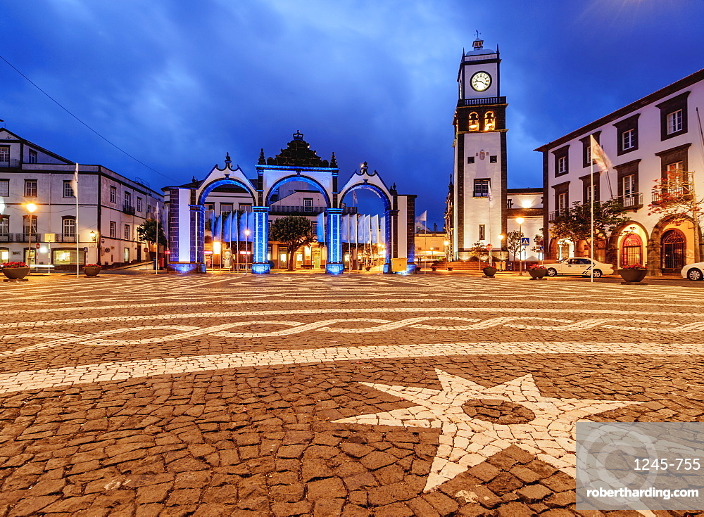 City Gates and Main Church, twilight, Ponta Delgada, Sao Miguel Island, Azores, Portugal, Atlantic, Europe