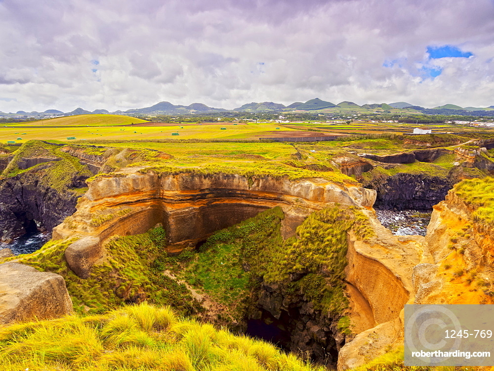 Crater in Ponta das Calhetas, Sao Miguel Island, Azores, Portugal, Atlantic, Europe