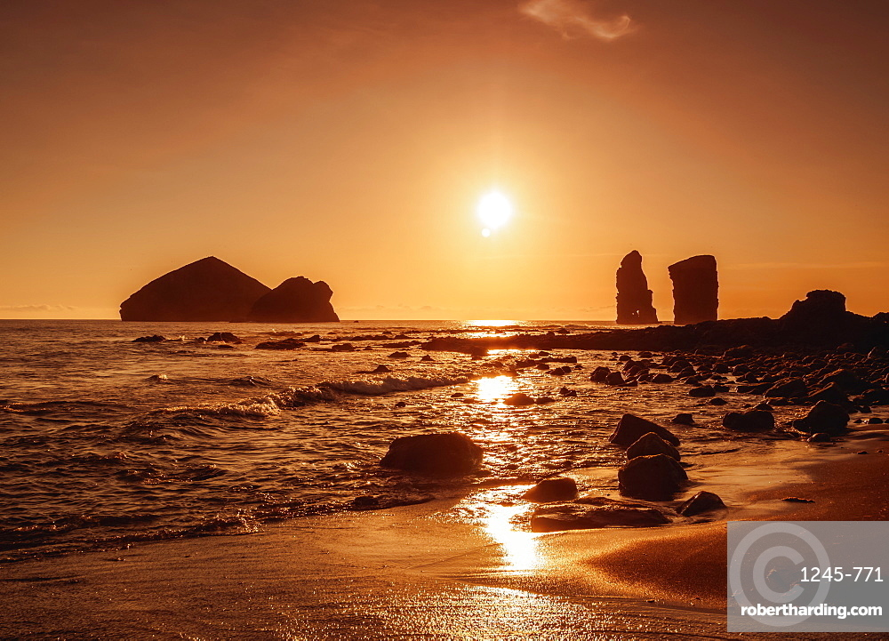 Sunset over the Ilheus dos Mosteiros, Sao Miguel Island, Azores, Portugal, Atlantic, Europe