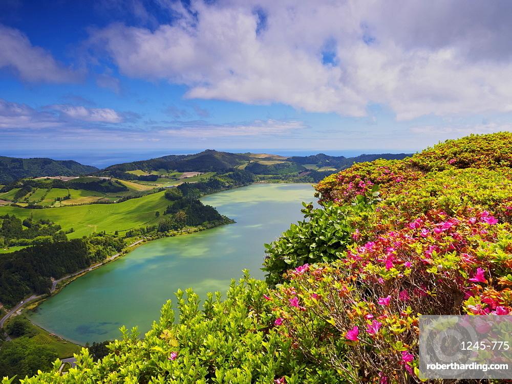 Lagoa das Furnas, elevated view, Sao Miguel Island, Azores, Portugal, Atlantic, Europe