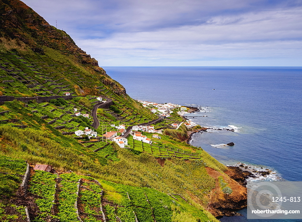 Vineyards of Maia, elevated view, Santa Maria Island, Azores, Portugal, Atlantic, Europe